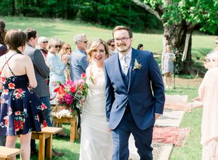 Colleen Golding and Nathan Bierschenk welcomed guests to their wedding with baskets full of retro cookies, soda and Volkswagen figurines. Then, everyo