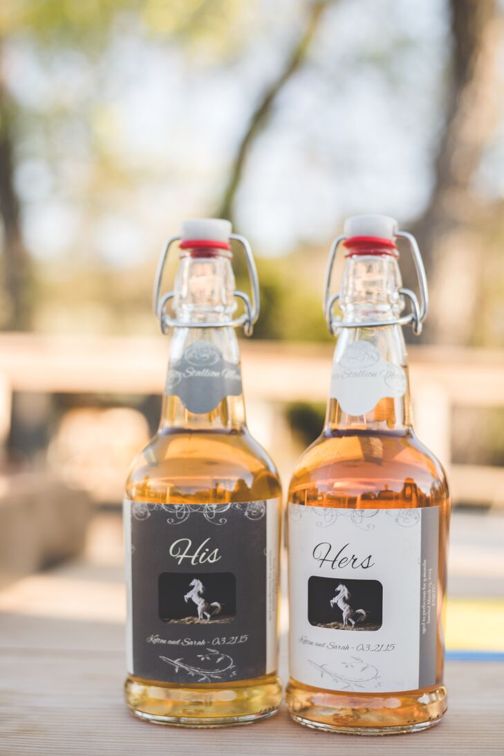 """""""We handed out bottles of mead that Kolton brewed himself, and then we bottled and labeled them for our wedding guests,"""" says Sarah."""
