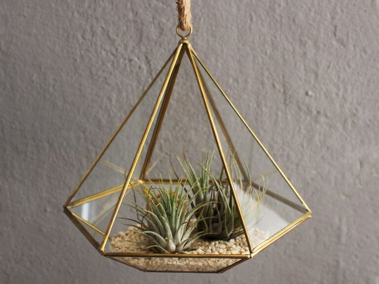 Diamond-shaped hanging terrarium 30th anniversary gift