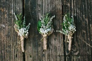 Gold Key Accented Twine Wrapped Boutonnieres