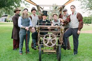 Fun Steampunk Groomsmen in Metal Framed Car