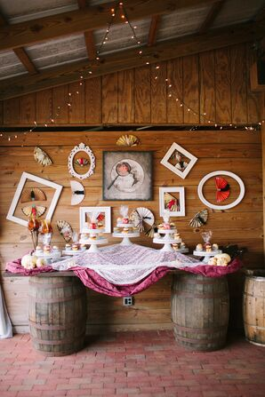 Vintage Fan Accented Cupcake Display