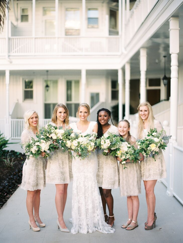 "Eliza wanted a ""beautiful neutral look"" for the bridesmaid gowns. ""My whole wedding was based on neutrals,"" Eliza says. ""The bridesmaid dresses were Needle & Thread. They were a beautiful cream color with intricate beading."""
