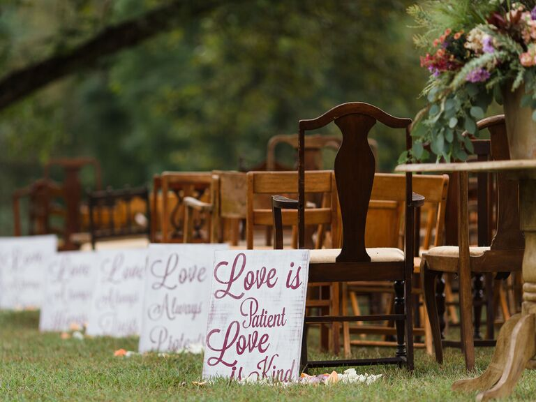 Rustic Wooden Signs ceremony aisle decor