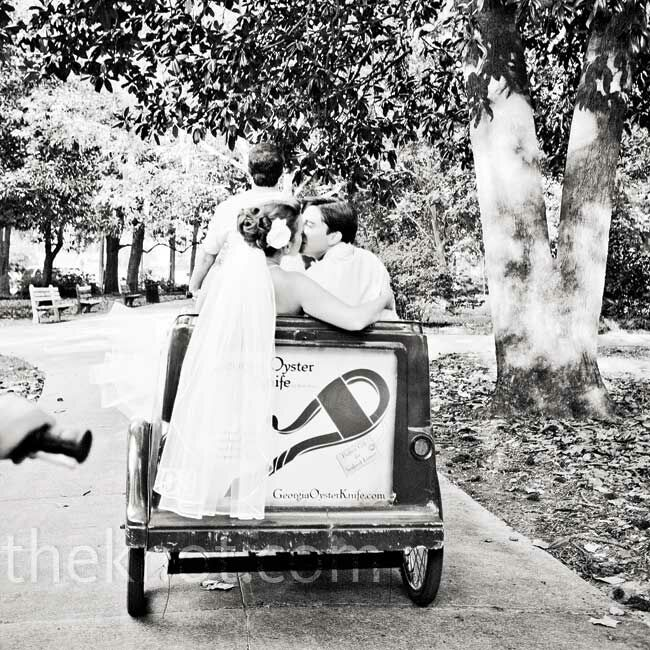 The bride and groom took a pedi-cab ride to the reception and rented another for their photographers, so they could snap a few romantic shots on the way.