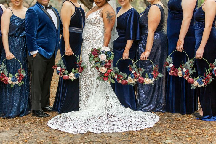 Wedding Party with Hoop Bouquets at Riverbed Farms in Anaheim, California