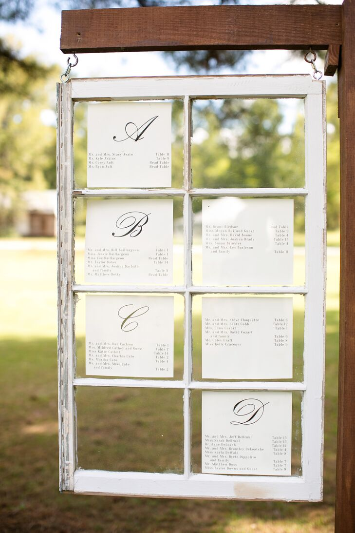 Vintage Window Pane Seating Chart