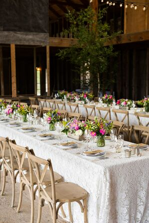 Lace Linens and Rustic Cross-Back Chairs