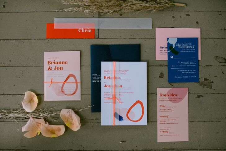 Eclectic and Colorful Invitations for Michigan Wedding