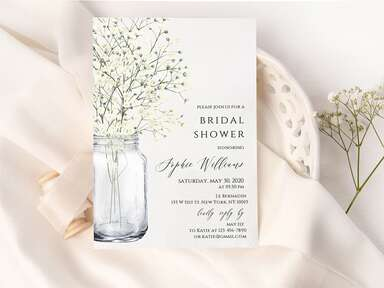 Brial shower invite with mason jar design and baby's breath