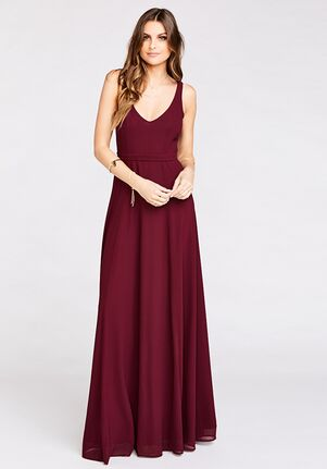 Show Me Your Mumu Jenn Maxi Dress - Merlot Chiffon V-Neck Bridesmaid Dress