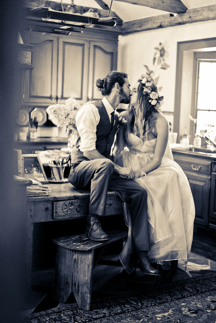 Bride and Groom Inside The Country Loft