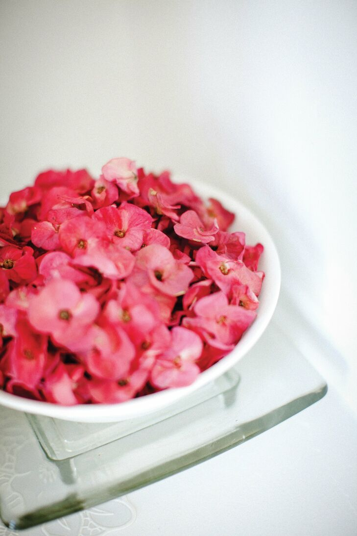 Plates of flower petals were set out for the religious ceremony that was held at Shital's parents' home.