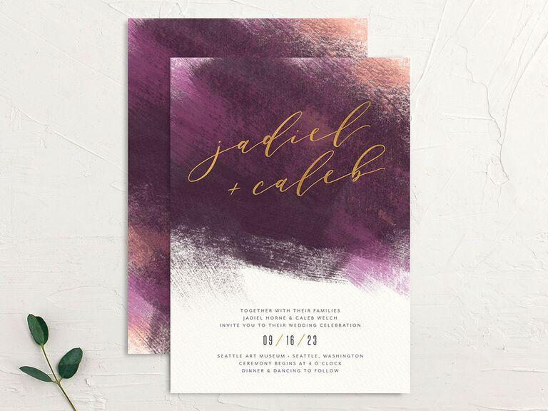 Purple brushstroke fall wedding invitation