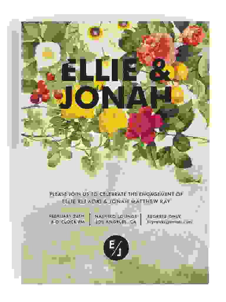 Modern floral engagement party invitation