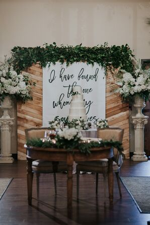 Sweetheart Table with Custom Calligraphy Sign and Greenery