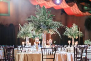 Tall Centerpieces with Palm Leaves and Greenery