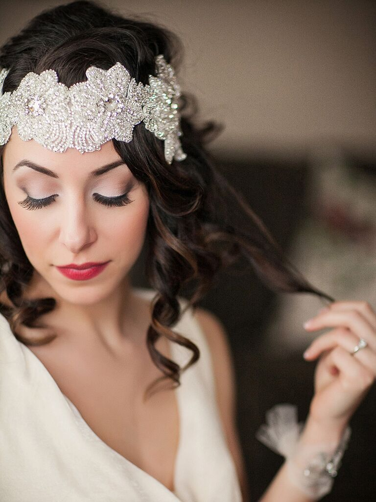 Glam wedding makeup look for brown hair and fair skin. Jordan Brian Photography