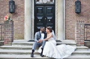 Elegant Formal Gray Tuxedo and Strapless Lace Gown