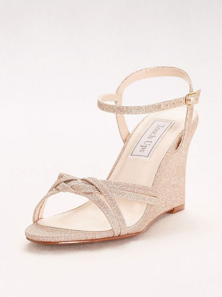 Touch Ups Buffy woven-strap glitter wedges
