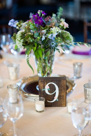 Centerpieces with Wildflowers and Wood Block Table Numbers