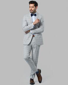 Menguin Gray Plaid Suit Gray Tuxedo