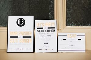Black and Gold Art Deco Invitations and RSVP Card