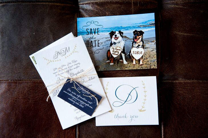 While the couple opted for a classic, whimsical design for their wedding invitations, they opted to have a little fun with their save-the-dates, incorporating a photo of their two dogs into the design.