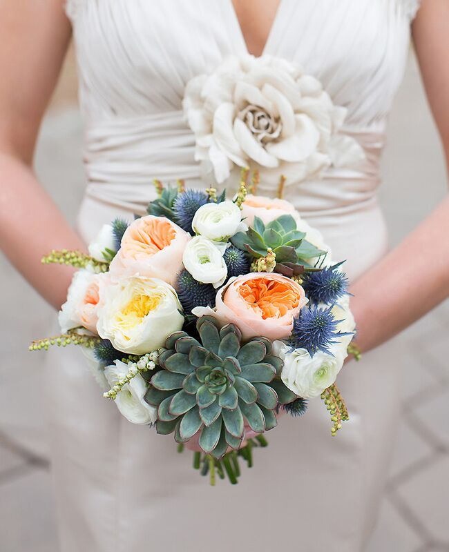 Thistle and Succulent Bridal Bouquet  <img class=