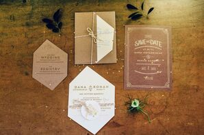 Gem-Shaped Custom Invitations with Metallic Gold Accents