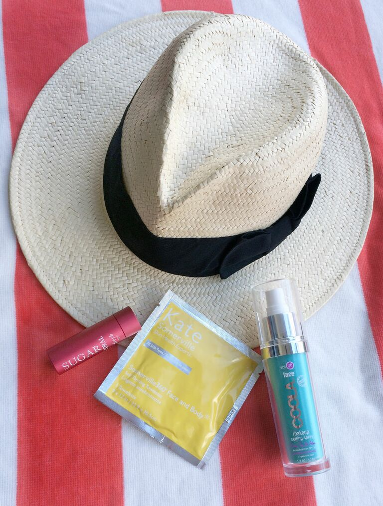 All-Day Honeymoon Essentials H&M Hat, Kate Sommerville Self Tanning Towelettes, Coola Makeup Setting Spray, Fresh Sugar Lip Treatment