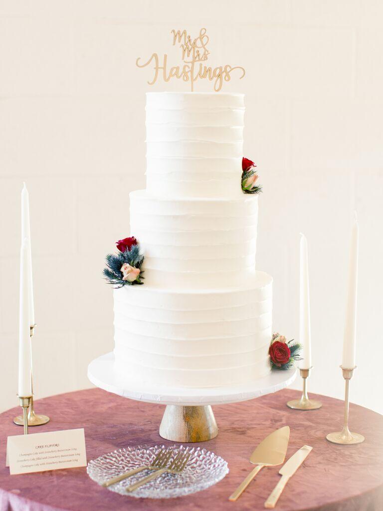 Simple three-tier wedding cake