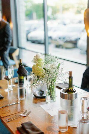 Simple Restaurant Reception Decor for Coastal Wedding in Portland, Maine