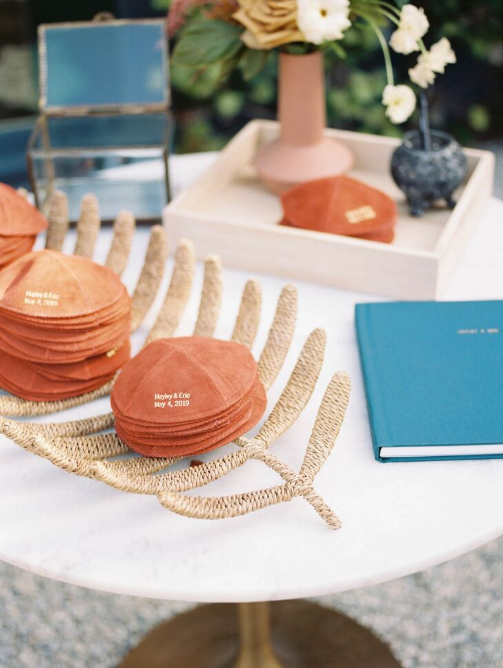 Romantic Decorations with Personalized Coral Yarmulkes