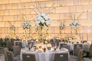 Round Tables with Tall Centerpieces of Hydrangeas, Ivy and Branches