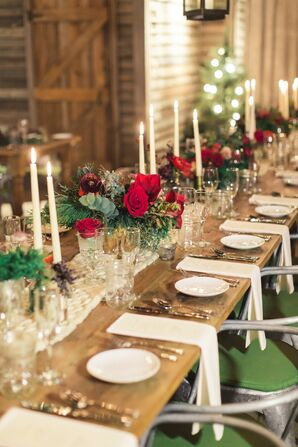 Christmas-Themed Tablescape for Wedding at Terrain at Styers in Glen Mills, Pennsylvania