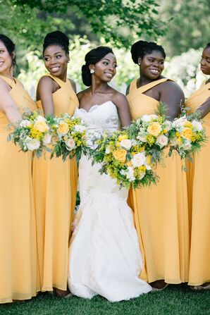 Bridesmaids in Yellow Dresses for Wedding at Mystical Rose Gardens in Baldwin, Wisconsin