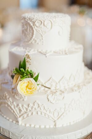 Three-Tier White Frosted Wedding Cake