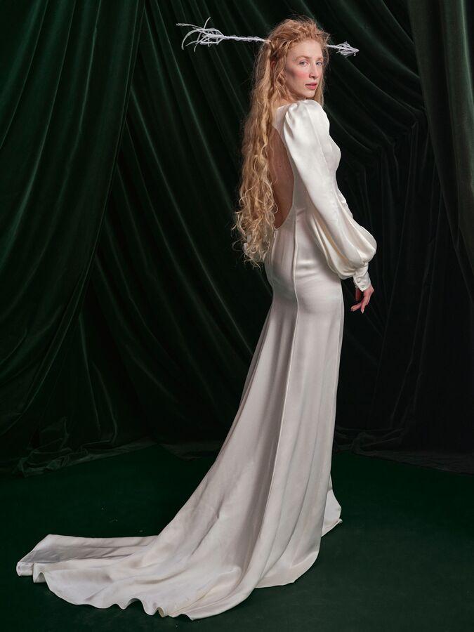 Wiederhoeft crepe back satin wedding dress with cutout back