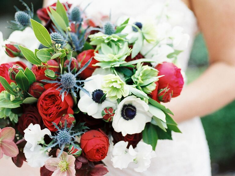 colorful winter wedding bouquet with white anemones
