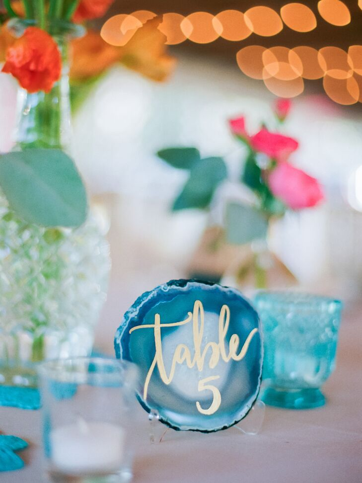 Blue Agate Table Numbers with Gold Calligraphy