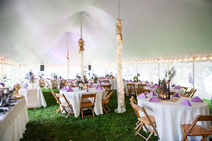 Ivory Reception Tent With Lavender and Natural-Wood Accents