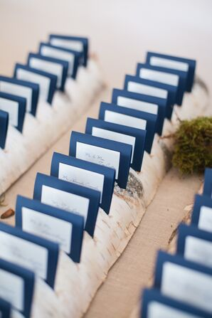 Navy and White Escort Cards in Birch Branches