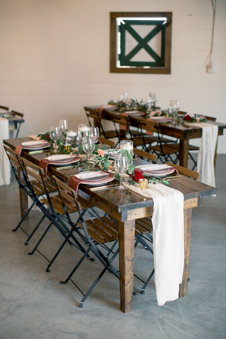 Rustic Farm Tables  with Greenery and Table Runners