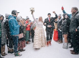 Merril Hermanson and Josh Pope knew their winter wedding would be snowy, but they weren't expecting a full-on blizzard. But despite the freezing tempe
