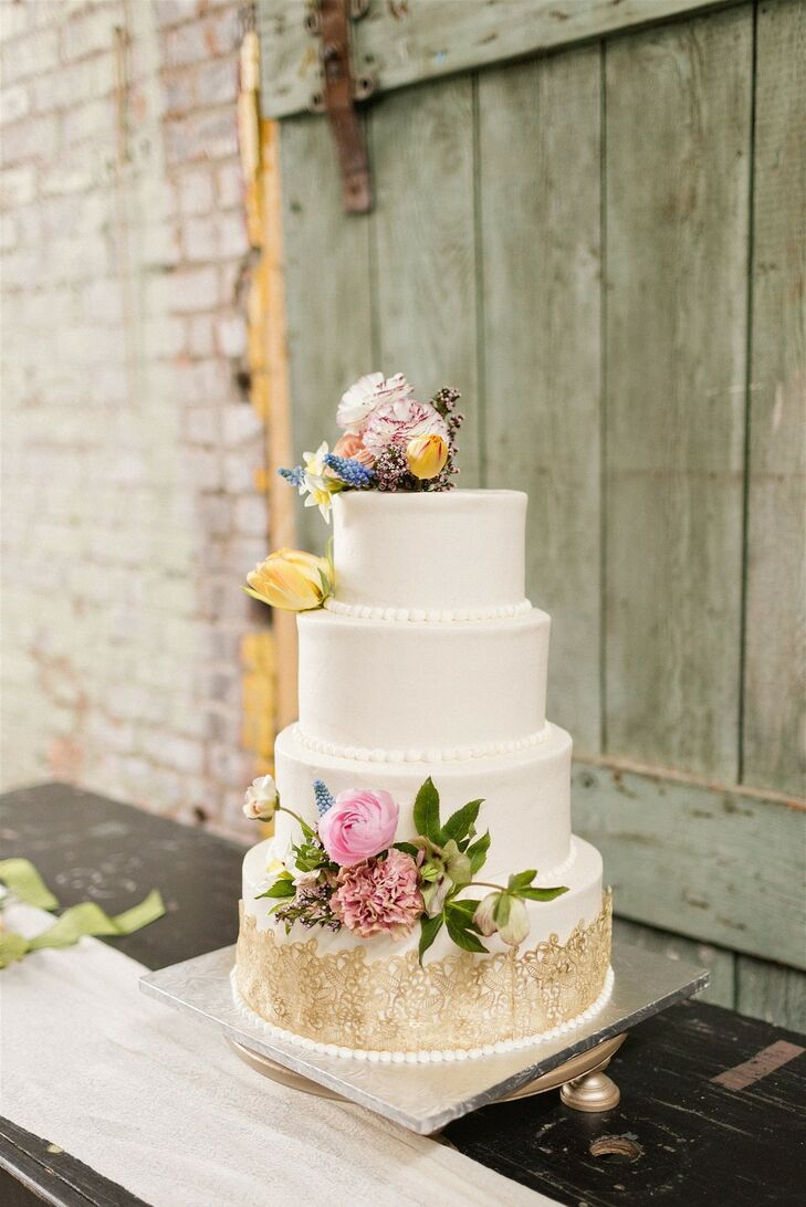 Classic Fondant Wedding Cake with Colorful Flowers