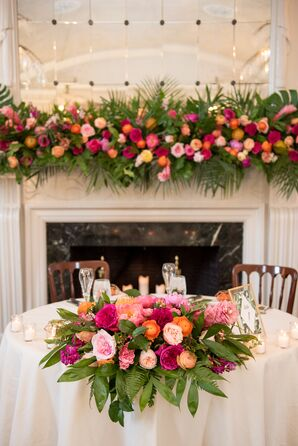 Colorful Sweetheart Table Topped with Bright Garland of Fern, Garden Roses and Orchid