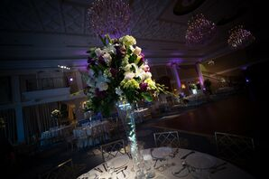 Orchid, White Rose, and Purple Carnation Centerpiece