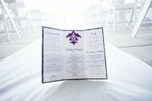 Formal Purple and White Wedding Programs