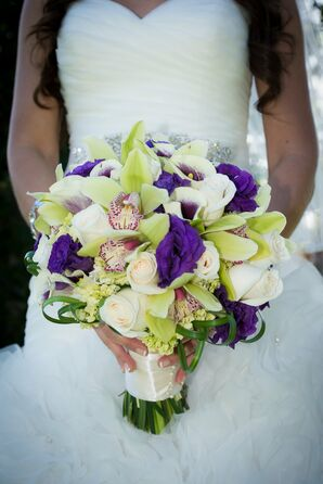 Orchid, White Rose, and Purple Carnation Bridal Bouquet